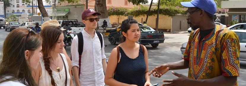 セネガルで活動中のボランティアたち 活動地のウォークツアー