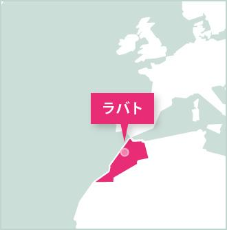 モロッコ、ボランティア活動地ラバトのマップ