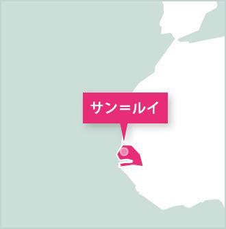 セネガル、活動地であるセイントルイスのマップ