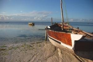 タンザニア、ボランティア活動地の近くの湖上のボート