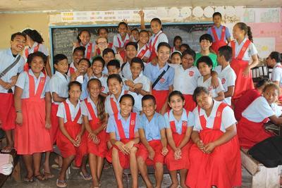 南太平洋サモアで国際協力 学校で栄養管理の重要性をを教える日本人ボランティア