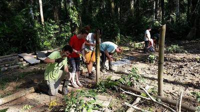アニマルレスキューセンターに保護された野生動物のために囲いをつくる学生ボランティアたち