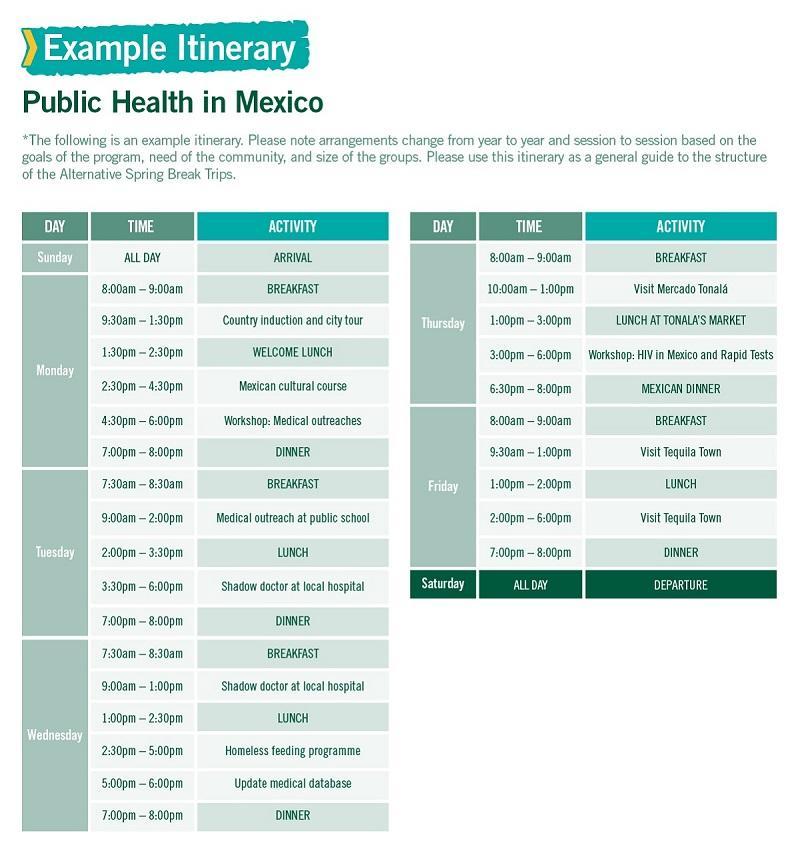 春休みを利用したメキシコでの公衆衛生の海外ボランティア スケジュール例