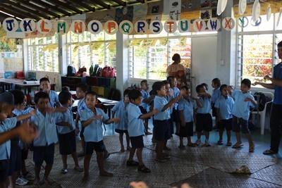 サモアの幼稚園の子供たち