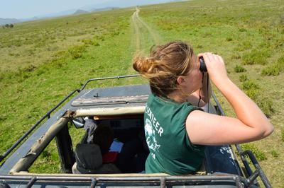 ケニアで野生動物の調査を行う環境保護ボランティア
