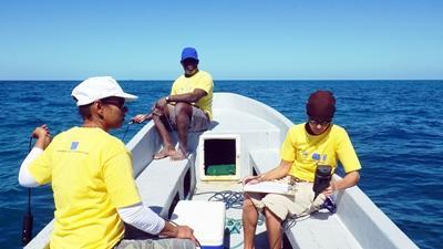 ベリーズの海洋保護プロジェクトでデータを集めるスタッフ
