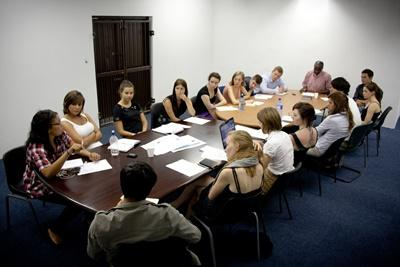 skilled volunteers on a human rights project discussing work in south africa