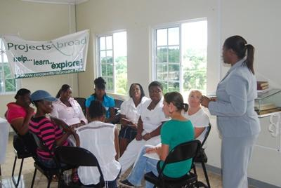 Literacy class in session in Jamaica on professional volunteer project