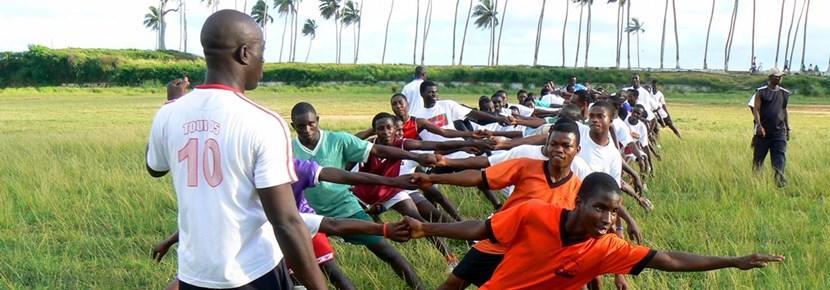 ガーナ、ラグビー練習とプロジェクトアブロードボランティア